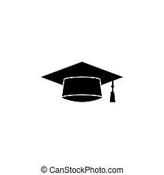 Graduation cap solid icon, education high school