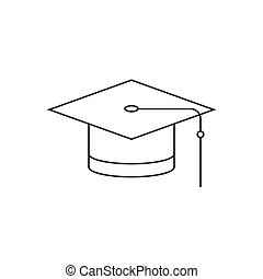 graduation cap, thin line icon