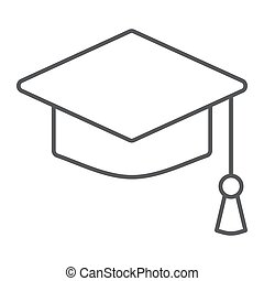 Graduation cap thin line icon, school education