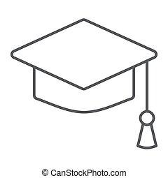 Graduation cap thin line icon, school education