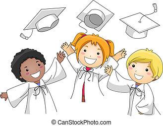Graduation Cap Toss - Illustration of Kids Tossing Their...