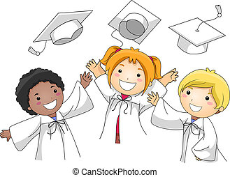 Graduation Cap Toss - Illustration of Kids Tossing Their...