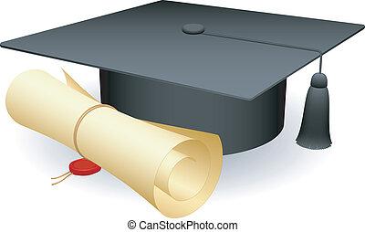 Graduation cap. - Graduation cap and diploma.