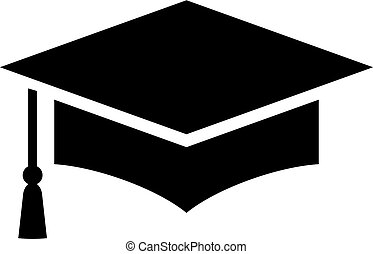 Graduation cap vector icon on white background