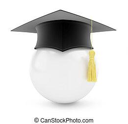 graduation cap white ball on a white background