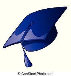 Graduation cap with a blue tassel isolated on a white background. Vector illustration.