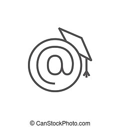 Graduation cap with at sign line icon.