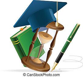 Graduation cap with book, sand clock and pen