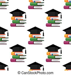 Graduation cap with books