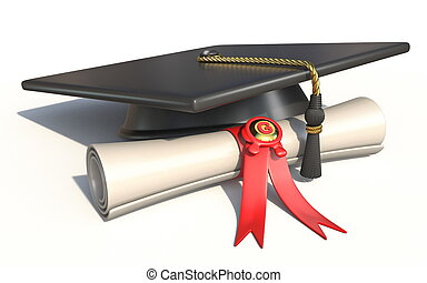 Graduation cap with diploma 3D
