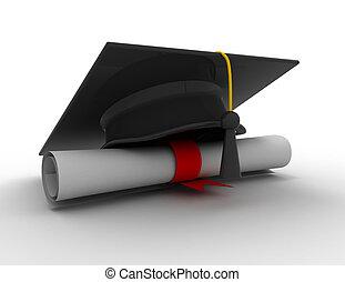 graduation cap with diploma.3d illustration