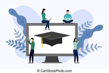 Graduation cap with gray computer, education vector illustration