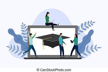 Graduation cap with gray laptop, education vector illustration