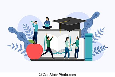 Graduation cap with gray laptop, education vector illustration