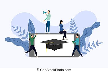 Graduation cap with gray smartphone, education vector illustration