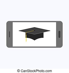 Graduation cap with gray smartphone on white background