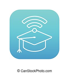 Graduation cap with wi-fi sign line icon.