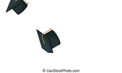 Graduation caps in the air HD animation HD animation -...