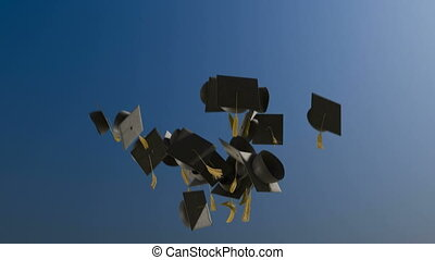 1080p HD Stock Video of Graduation caps being tossed in to the sky in slow motion.