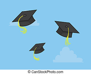 Graduation Caps Thrown