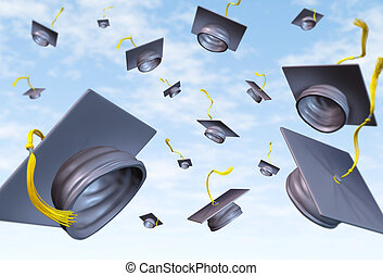 Graduation caps thrown in the air as a celebration with a...