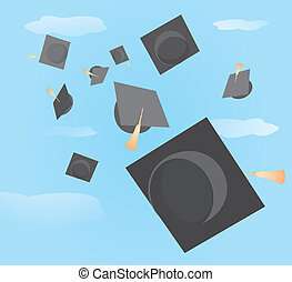 Graduation caps tossed up