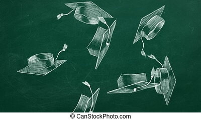 Graduation caps - University graduates throwing academic...