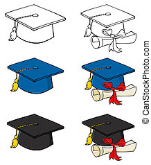 Graduation Caps-Vector Collection