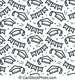 Graduation caps vector seamless pattern
