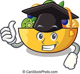 Graduation cartoon bowl healthy fresh fruit salad