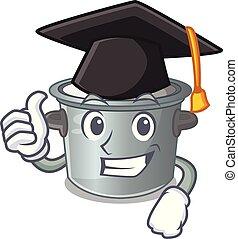 Graduation cartoon cookware stock pot in kitchen vector...