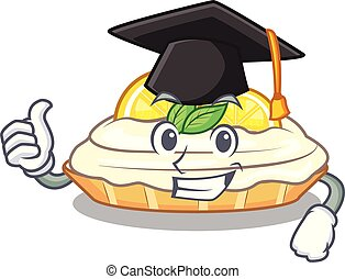 Graduation cartoon lemon cake with lemon slice