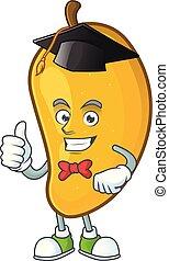 Graduation cartoon of mango character on a white background.