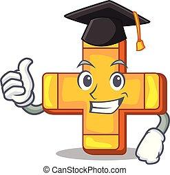 Graduation cartoon plus sign logo concept health