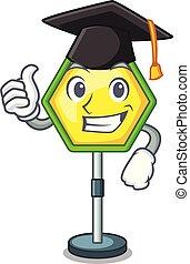 Graduation cartoon traffic sign on traffic road