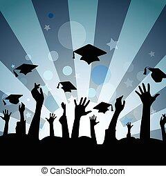 Graduation celebration - Hand silhouettes throwing...