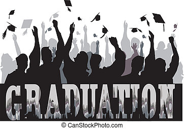 Graduation celebration in silhouette - Graduation...