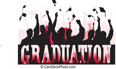 Graduation celebration in silhouette..Easily editable in ...