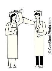 graduation ceremony couple black and white