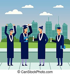 graduation ceremony diploma people
