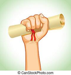 Graduation Certificate - illustration of hand holding...