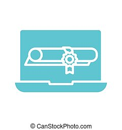 graduation certificate in laptop silhouette style icon