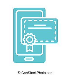 graduation certificate in smartphone silhouette style icon