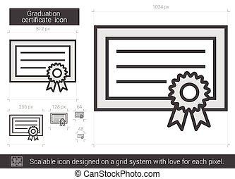 Graduation certificate line icon.