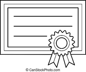 Graduation certificate vector line icon.