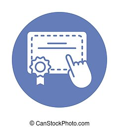 graduation certificate with hand cursor block style icon