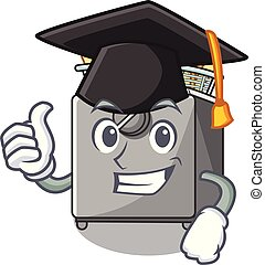 Graduation character deep fryer on restaurant kitchen vector...