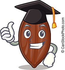 Graduation character pecan nuts in wood bowl vector...