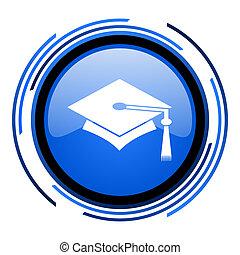 graduation circle blue glossy icon