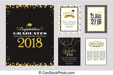 Graduation Class of 2018 greeting card and invitation template set. Vector party invitation. Grad poster.